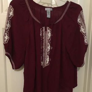CATHERINES. BOHO Top w/ Embroidery Plus Size 2X